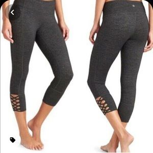 Athletha black crop leggings with calf cut out XS